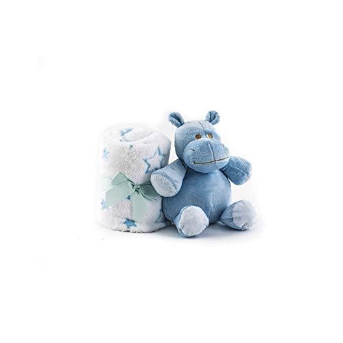 Duffi Baby- Manta y Peluche, 90 x 75 cm, Color Azul (Master Baby Home, S.L. 5512-12)
