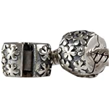 Andante-Stones - original, cuenta de plata de ley 925 sólida, cierre a presión, elemento separador con un diseño floreado, elemento bola para cuentas European Beads + saco de organza
