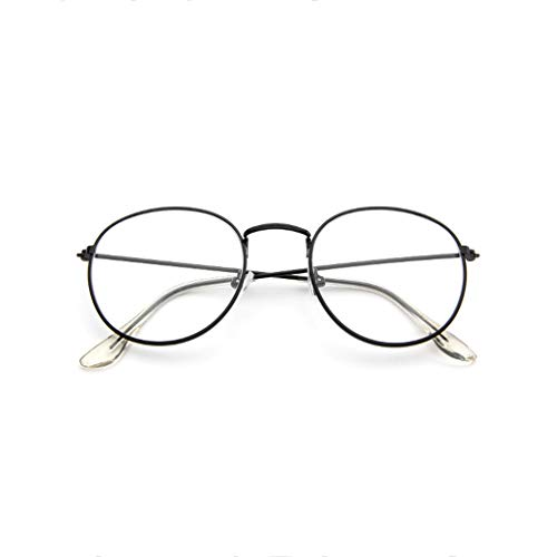 EUCoo Brillengestell Mode Retro Metall Runden Rahmen Spiegel Flache Brille Student GläSer(Schwarz)