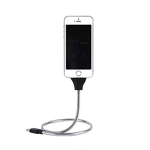 Flexibles Twister USB Ladekabel in Titanoptik Ladestation Dockingstation Metall KFZ Ladebuchse Datenkabel für Android und Apple Auto Ständer Tablet Halterung Handy Kabel - FÜR APPLE in SILBER