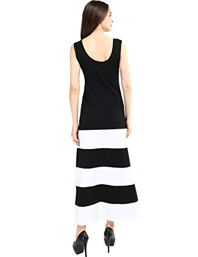 Elite99® Women Panel Print Sleeveless Black and White Stripe Full Length Madi Dress(10)
