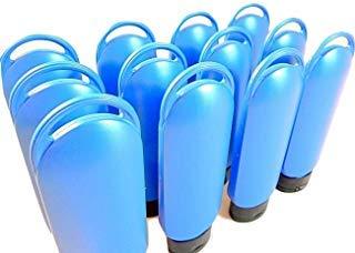 Lot de 12 flacons rechargeables en plastique avec bouchon et trou de boucle pour lotion, pare-soleil, shampooing, bouteille