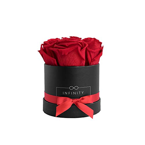 Infinity Flowerbox Small (Schwarz) - 4 echte Premiumrosen in Vibrant Red (Rote Rose Single)
