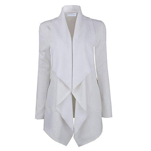 MOTOCO Damen Frauen Strickjacke Mantel Schlank Langarm Umlegekragen Herbst Winter Warme Jacke Outwear Oversize(2XL,Weiß)