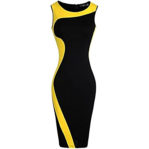 jeansian Donna Retro Fascino Elegante Sottile Abito Gonna Pencil Dress WKD280