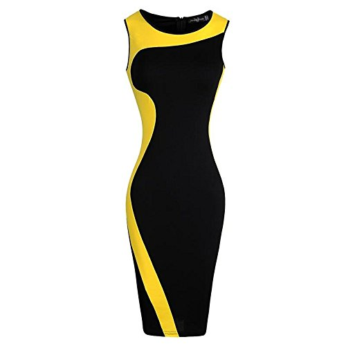jeansian Donna Retro Fascino Elegante Sottile Abito Gonna Pencil Dress WKD280 Yellow M
