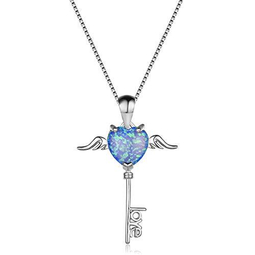 Yazilind Glücksschlüssel Blue Opal Anhänger Halskette Platin plattiert Kette Schmuck Geschenk für Frauen Freundin Frau Tochter