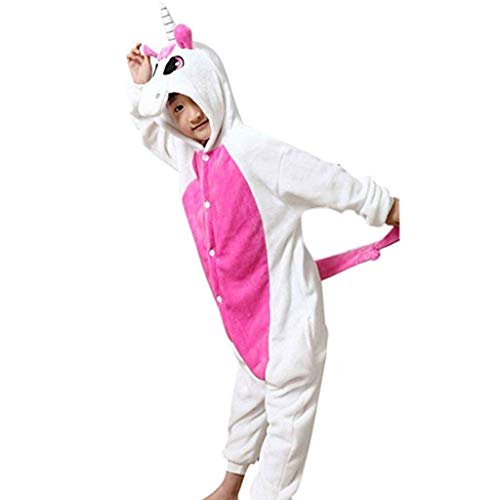 GWELL Kinder Kostüm Tier Kostüme Schlafanzug Mädchen Jungen Winter Nachtwäsche Tieroutfit Cosplay Jumpsuit rosa Einhorn Körpergröße 125-134cm (Niedliche Tiere Weihnachten Kostüm)