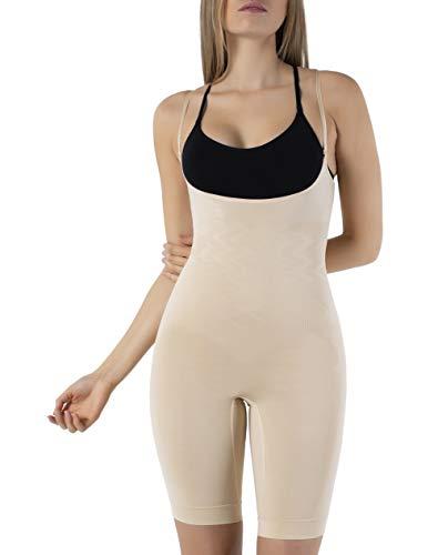 UnsichtBra Shapewear Damen Bauch Weg Body | Bauchweg Unterwäsche Korsett - Funktion | Eigener BH Bodyshaper für Frauen in schwarz, weiß u. beige (sw_2100)(M (40-46),Beige)