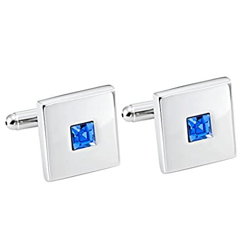 Stainless Steel Silver Color Square Cuff Links with Blue Cubic Zirconia Stone