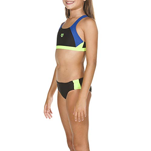 ARENA Mädchen Sport Bikini Ren, Black-Royal-Shiny Green, 164