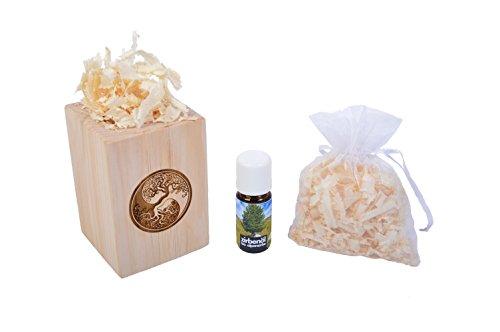 Zirbenduftset Yin Yang mit Zirben-Späne + Bio-Zirbenöl (10ml)