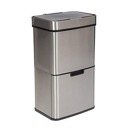 Trebs Comfortliving Abfalleimer 99347 - Mülltrennsystem - Abfall- und Recycling-System - 65L mit 4 Behältern - Annäherungssensor - Edelstahlgehäuse - silber