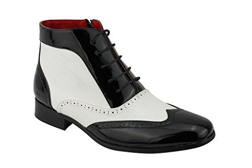 der Zank Ganster Herren Halbschuhe Zip Stiefeletten Fancy Party Schuhe, Schwarz - schwarz/weiß - Größe: 41.5 ()