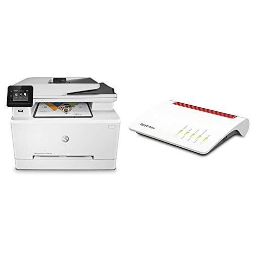 HP Color LaserJet Pro M281fdw Multifunktions-Farblaserdrucker, Laserdrucker (Drucken, scannen, kopieren, Faxen, WLAN, LAN, Duplex, Airprint) weiß & AVM FRITZ!Box 7590 High-End WLAN AC + N Router