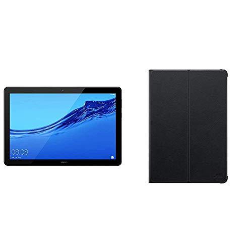 Huawei MediaPad T5 WiFi Tablet-PC 25,6 cm (10,1 Zoll), Full HD, Kirin 659, 3 GB RAM, 32 GB interner Speicher, Android 8.0, EMUI 8.0, schwarz & Original Flip Cover für Mediapad T5 10 Zoll Schwarz Hd-3 Gb Ram