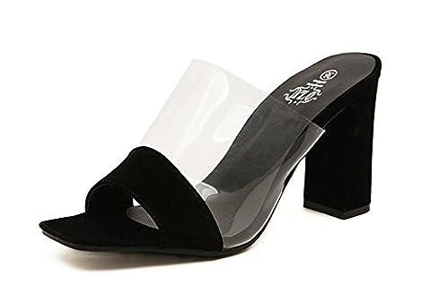 Good Night Femmes pieds à talons hauts tête carrée Sandale Talons de blocs Pantoufles
