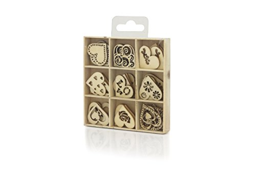 Wooden Craft 45 Hearts Embellishment MDF Shapes in a Box, 5 Pieces of Each 9 Shapes, Perfect for Scrapbook Decoration, DIY Woodcraft and Personalised Cards, a Must Have Inclusion to Your Art Supply