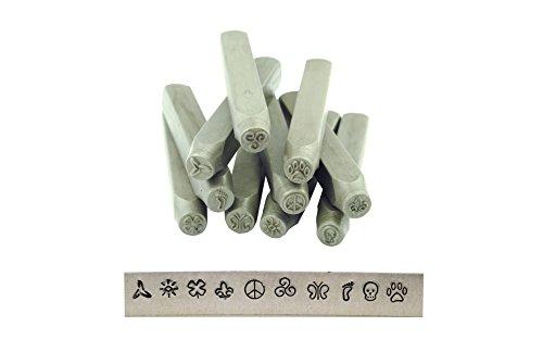 Proops Stempel-Set, 10 Stück aus Metall Locher, 0.00 meters, Totenkopf, Peace, Sonne, Motiv Schmetterling, Blume, Drucken Swirl), (Stempel-set Metall)