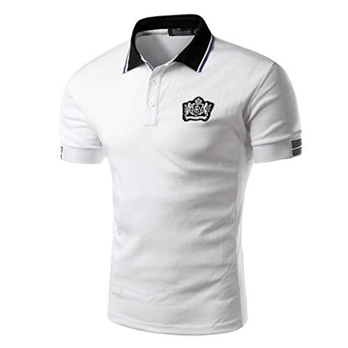 Luckycat Herren Kurzarm Basic Kontrast Polo-Shirt Poloshirt Herren Kurzarm Basic T-Shirt Freizeit...