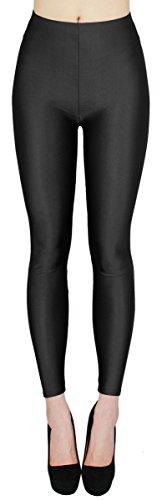 Schwarz Metallic-leggings (Glanz Leggings Damen bunt viele Farben Tanz Leggings glänzende Leggins Shiny One Size - JL116 (One Size - geeigent für Gr. 36-38, JL116-Schwarz))