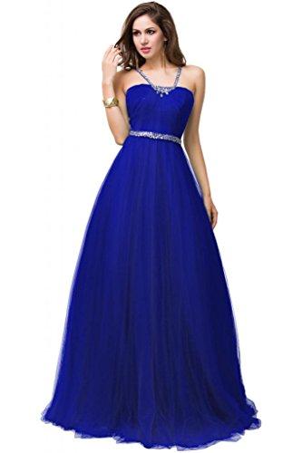 Sunvary Organza senza spalline Tulle Retro aperto-Gowns abiti da sera Royal Blue