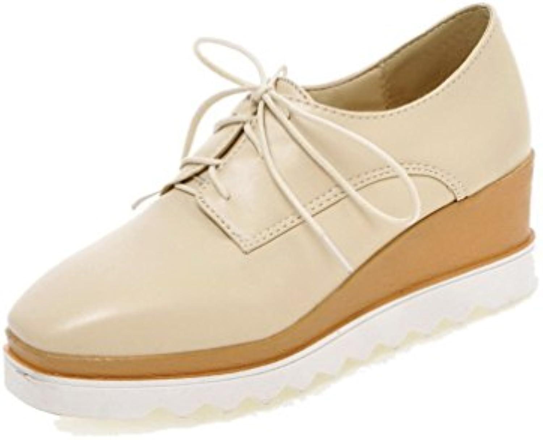 VogueZone009 Mujeres Cordones PU Puntera Cuadrada Tacón Medio Sólido Zapatos de Tacón