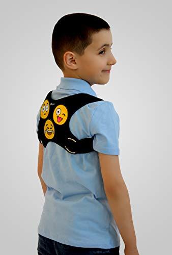 BeFit24® Deutschland - Made in EU - Fun-Emojis Geradehalter zur Haltungskorrektur für Kindern und Jugendlichen - mit großen Smiley-Klettverschlüssen