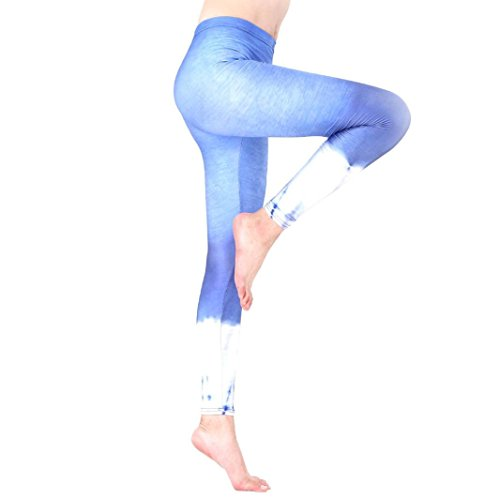 Yoga Hosen Damen, DoraMe Frauen Fitness Bewegung Athletischen Hosen Training Tree Drucken Yoga Leggings (S, 1-Blau)