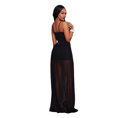Femmes Sexy V-cou sans manches sans bretelles Broderie Mesh Splicing Robe Jumpsuit Noir