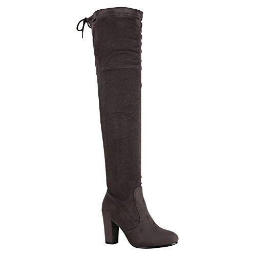 Modische Damen Stiefel Profil Sohle Overknees Block Absatz Schuhe 150320 Grau Schleifen Autol 41...