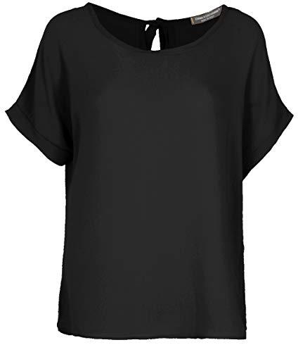 Emma & Giovanni - T-Shirt/Oberteile Oversize mit Kurzarm Segelstoffe - Damen (Schwarz, DE 46 (Herstellergröße XL))