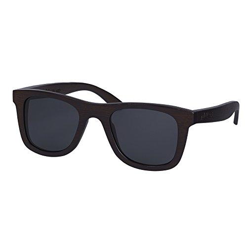Nebelkind Unisex Bamboobastic Holz Sonnenbrille mit Bambus Etui Dunkelbraun Grau One Size