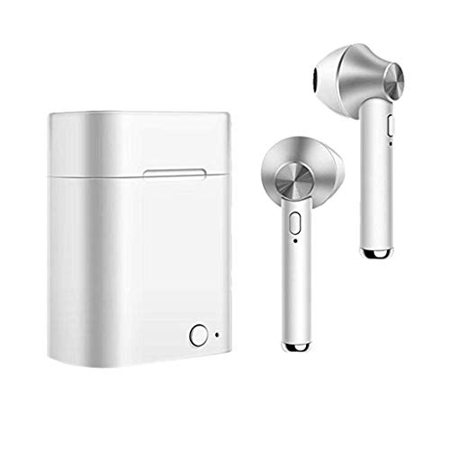 ToDIDAF Stereo Dynamic Earbuds Handsfree TWS Bluetooth Earphones Wireless Bluetooth 4.2 Earbuds Touch Control Headphones with Charging Box (Silver) - Cd-player Service-manual