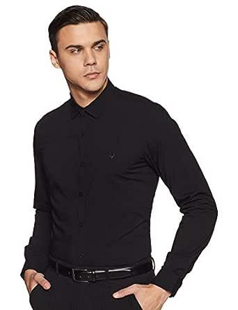 Allen Solly Men's Solid Slim fit Formal Shirt (ASSFWMOFS24641_Black_40)