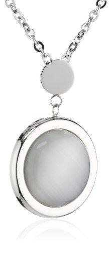 Mike Ellis New York SC01-02 IPS - Collana da donna, in acciaio inossidabile, ciondolo con madreperla, colore: bianco, 42 cm