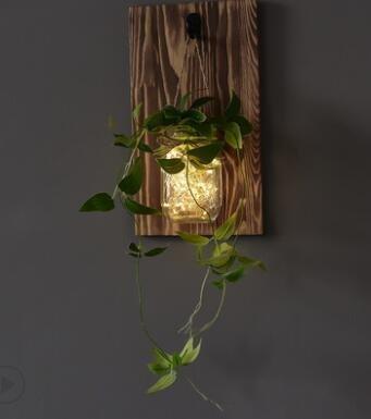 Biubiuji Wandleuchte Rustikale Mason Jar Wandleuchte Mit Led-Lichterketten Und Blumen Für Die Hochzeit Cafe Bar Wand Schlafzimmer Einrichtung, Grün