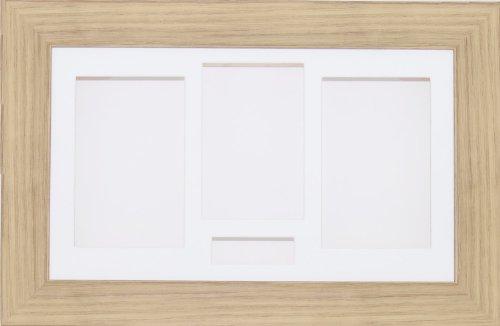 Anika 14,5 x 8,5 cm-boîte 3D effet chêne à Passe-Partout bois Fleurs de bébé Cadre 4 ouvertures blanc/fond blanc