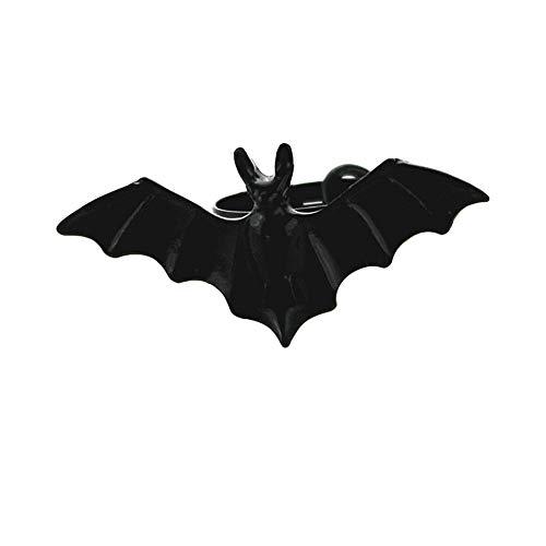 Topdo Exquisito Anillo de Halloween con Ajustable Anillo de Extremo Abierto para Las Mujeres Hombres 1 Pieza Murciélago Negro
