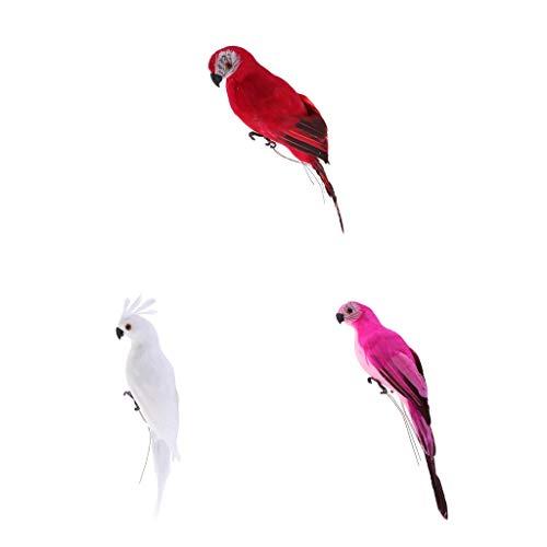 2pcs Realisierte Papagei Ara Gartenfigur Dekofigur Zaungast Zaunhocker für