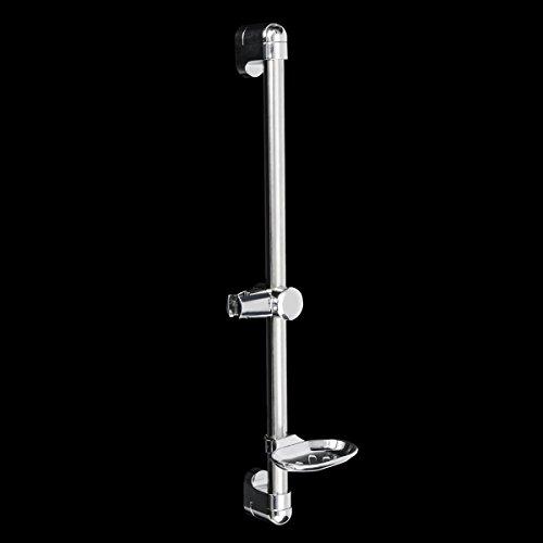réglable en acier inoxydable Colonne de douche avec support de barre de douche Savon avec support Pomme de douche Porte-serviettes 61cm Faway