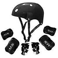 Grupo K-2 - Protección Patinaje   Protección Infantil   Kit de Casco Ajustable, Rodilleras y Coderas   Patinaje, Ciclismo, Monopatín, Deportes Extremos, Scooter   Modelo Kr-006 Negro