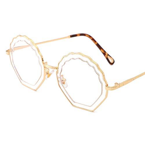 LXQ Mode Sonnenbrillen Metallrahmen Sonnenbrille Runde Rahmen hohlen unregelmäßigen Blumen Welle Muster Brille im Freien Reise Gezeiten Fahrt,h