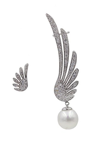 totoroforet-asimmetrica-punk-angelo-ali-orecchini-ear-stud-orecchino-e-in-set-con-shell-bead-pendant