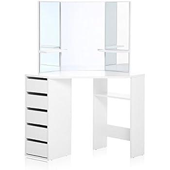 Merveilleux Makika Corner Dressing Table Mirror Set Wooden Vanity 5 Drawers Makeup  Dresser Furniture White Bedroom Desk