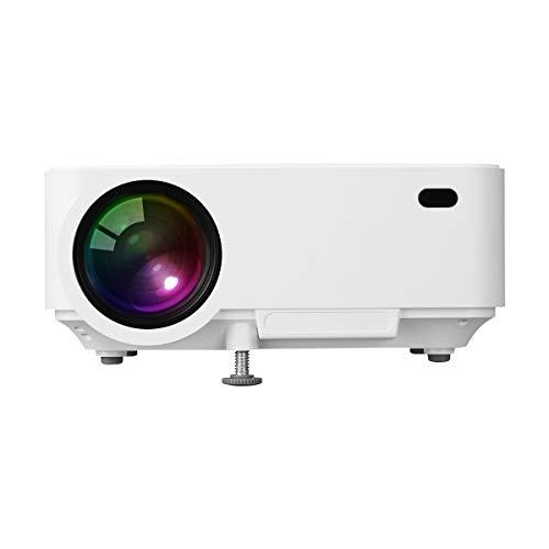 Vidéoprojecteur HD, ExquizOn T5 Pico Projecteur Soutien HD 1080P Rétroprojecteur pour Home Cinéma et Jeu Vidéo (Blanc)