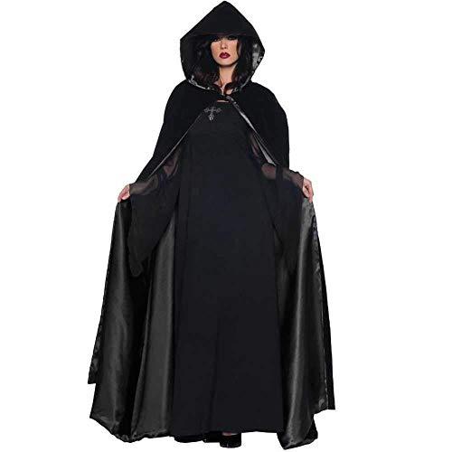 Sensenmann Kostüm Plus - GWNJSSX Wicked Witch Vampire Cloak Kostüm Halloween Damen Kostüm Outfit Loose Plus Size, Beinhaltet Kleid Und Umhang,Black-M