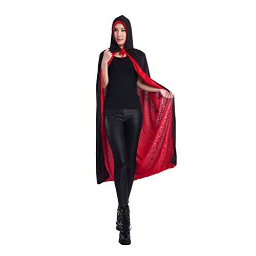 Zhhlinyuan Schwarz Rot Double Sided Robe Umhang - Entzückend Hexe Umhänge Cosplay Kostüm Festival Party Schick Kap für Erwachsene