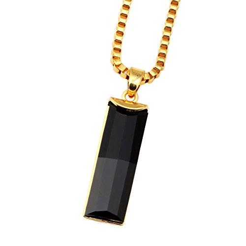 nyuk hip-hop rettangolare da uomo, placcata oro 18K originale ciondolo catena collana