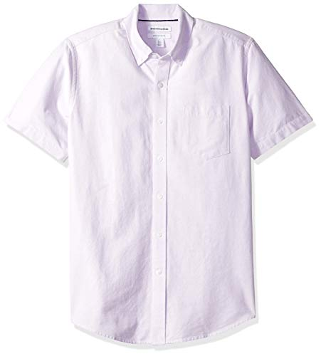 Amazon Essentials Regular-Fit Short-Sleeve Solid Pocket Oxford Shirt Freizeithemd, Violett (lavender Lav), US L (EU L) -